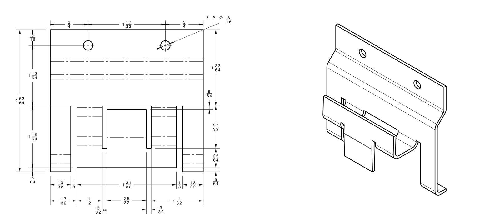 Sheet Metal Panel Holder Mechanical Drafting Services